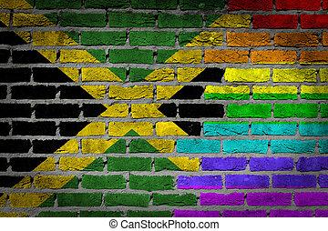 Oscuridad, ladrillo, pared, -, LGBT, derechos, -, jamaica
