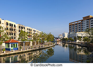 Malacca city with house near river under blue sky in...