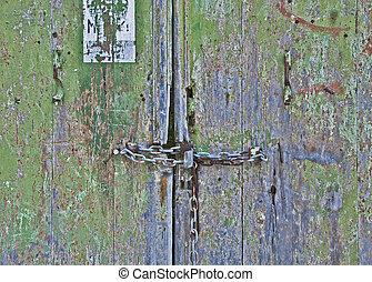 Grunge locked door background
