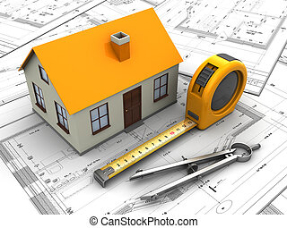 house blueprints - 3d illustration of house model and...