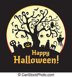Halloween vector illustration - cemetery and old tree