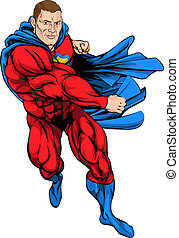 Punching superhero - A cartoon illustration of a dynamic...