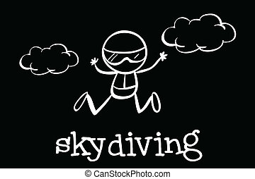 Skydiving - Illustration of a doodle of skydiving