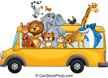 Animals and bus - Illustration of many animals riding on a...