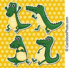Crocodiles - Illustration of different poses of a crocodile