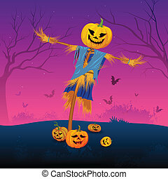 Scary scarecrow with pumpkin in Halloween
