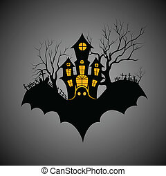 Haunted castle in scary Halloween night