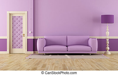 Purple room in classic style with modern sofa