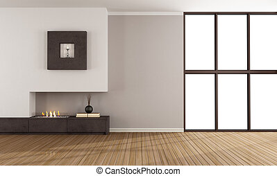 Empty room with modern fireplace