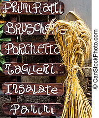 Wooden Italian restaurant banner - Typical wooden Italian...