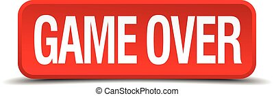 game over red 3d square button on white background
