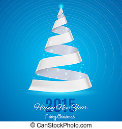 Ribbon Christmas tree - White ribbon Christmas tree on blue...