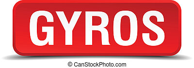 Gyros red 3d square button on white background