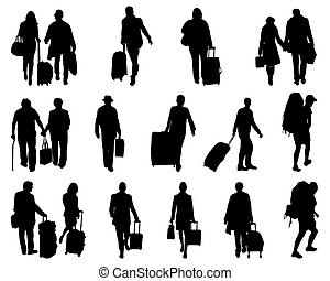 travelers - Black silhouettes of travelers, vector