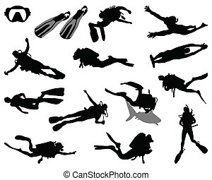 diver - Black silhouette of diver, vector