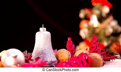 Christmas bell revolve in the background with Christmas tree...