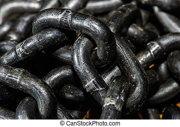 Black metal chain macro view