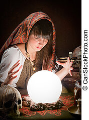 Fortune-teller and a crystal ball