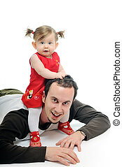 young father play with beautiful daughter - young father man...