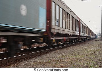 Freight Train - Freight train passing by with blur