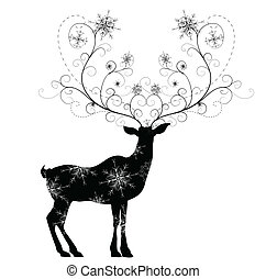 Deer with snowflakes horns vector illustration