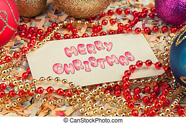 Merry Christmas greeting card. Holiday background with text