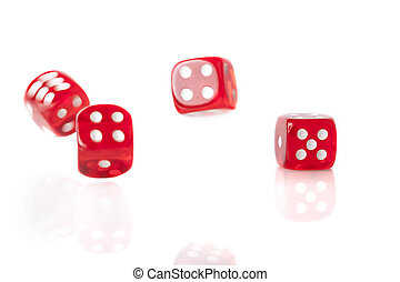Four Red Dice - Four red bouncing dice isolated on white...