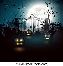 Halloween background - Halloween graveyard in the woods