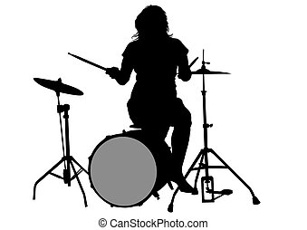 Drum kit and women - Drum kit for rock band on a white...