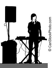 Keyboards - Pianist of rock band on a white background