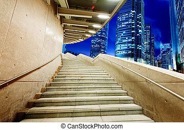 Hong Kong night, pedestrian overpass stairs.