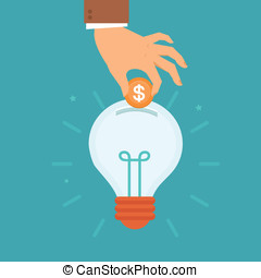 Vector idea attracting money concept in flat style - man's...