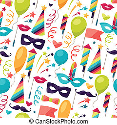 Celebration seamless pattern with carnival icons and objects...