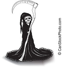 death - very thin death in black with a scythe in a lace...