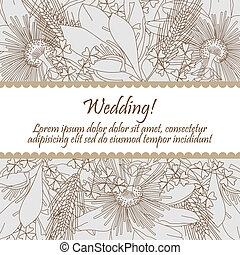 Wedding card with seamless pattern of lily flowers