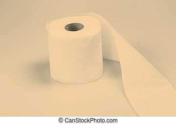 toilet paper - roll of toilet paper on white background
