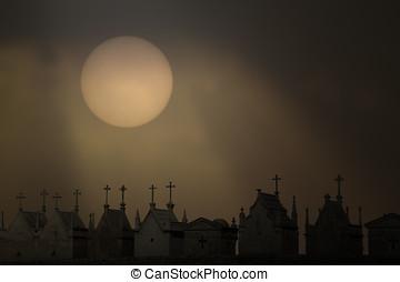 Twilight cemetery