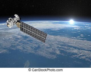 Aqua satellite - 3D render - Aqua satellite in space upon...