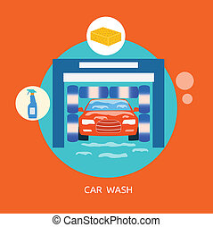 Business concept car wash best clean non stop auto service -...