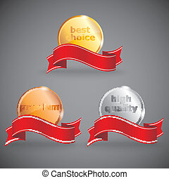 abstract vector set of promotional labels with ribbons