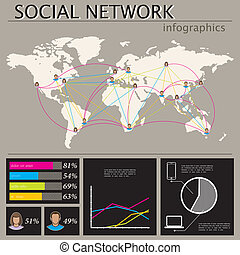 infographic illustration with world map. social network