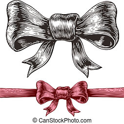 Gift bow - An engraving style drawing of a bow. Eps8. CMYK....