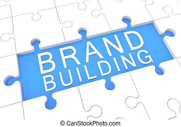 Brand Building - puzzle 3d render illustration with word on...