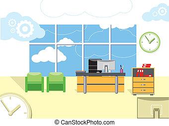 Modern office interior with designer desktop in flat design....