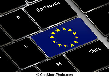 computer keyboard with european union flag button