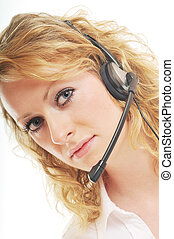 business woman headset - young beautiful business woman with...