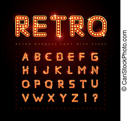 Retro font - Retro alphabet set with lamp and stars, vector...