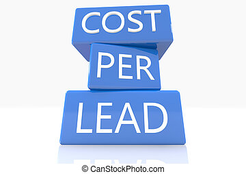 Cost per Lead - 3d render blue box with text Cost per Lead...