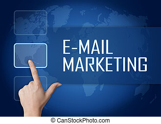E-mail Marketing concept with interface and world map on...