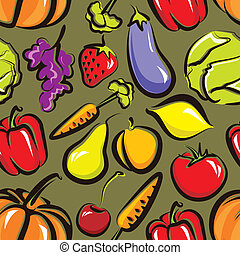 vector food background with fruit and vegetables. seamless pattern